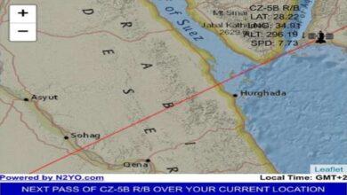 Photo of الصاروخ الصيني الخارج عن السيطرة حلق فوق مصر وسورية والأردن